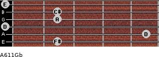 A6/11/Gb for guitar on frets 2, 5, 0, 2, 2, 0