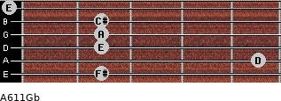 A6/11/Gb for guitar on frets 2, 5, 2, 2, 2, 0