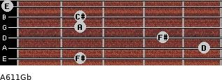 A6/11/Gb for guitar on frets 2, 5, 4, 2, 2, 0