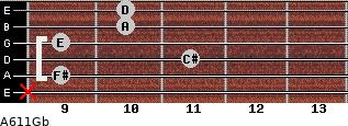 A6/11/Gb for guitar on frets x, 9, 11, 9, 10, 10