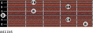 A6/11b5 for guitar on frets 5, 4, 0, 2, 4, 2