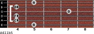 A6/11b5 for guitar on frets 5, 4, 4, 7, 4, 5