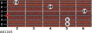 A6/11b5 for guitar on frets 5, 5, x, 6, 4, 2