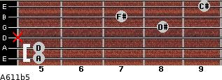 A6/11b5 for guitar on frets 5, 5, x, 8, 7, 9