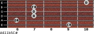A6/11b5/C# for guitar on frets 9, 6, 7, 7, 7, 10