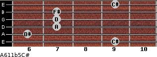 A6/11b5/C# for guitar on frets 9, 6, 7, 7, 7, 9