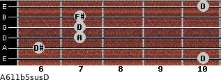 A6\11b5sus\D for guitar on frets 10, 6, 7, 7, 7, 10