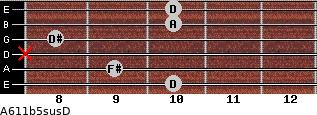 A6\11b5sus\D for guitar on frets 10, 9, x, 8, 10, 10