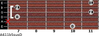 A6\11b5sus\D for guitar on frets 10, x, 7, 11, 7, 11