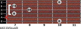 A6\11b5sus\D for guitar on frets 10, x, 7, 8, 7, 10