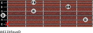 A6\11b5sus\D for guitar on frets x, 5, 0, 2, 4, 2