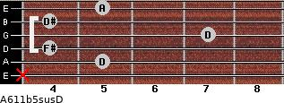 A6\11b5sus\D for guitar on frets x, 5, 4, 7, 4, 5