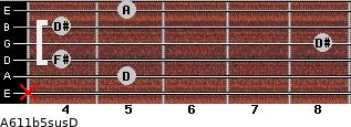 A6\11b5sus\D for guitar on frets x, 5, 4, 8, 4, 5
