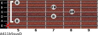 A6\11b5sus\D for guitar on frets x, 5, 7, 8, 7, 5
