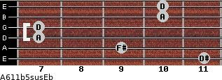 A6/11b5sus/Eb for guitar on frets 11, 9, 7, 7, 10, 10