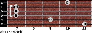 A6/11b5sus/Eb for guitar on frets 11, 9, 7, 7, 7, 10