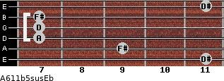 A6/11b5sus/Eb for guitar on frets 11, 9, 7, 7, 7, 11