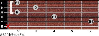 A6/11b5sus/Eb for guitar on frets x, 6, 4, 2, 3, 2