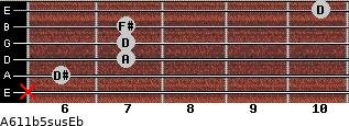 A6/11b5sus/Eb for guitar on frets x, 6, 7, 7, 7, 10