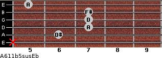 A6/11b5sus/Eb for guitar on frets x, 6, 7, 7, 7, 5