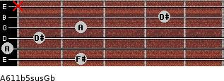 A6\11b5sus\Gb for guitar on frets 2, 0, 1, 2, 4, x