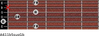 A6\11b5sus\Gb for guitar on frets 2, 0, 1, 2, x, 2