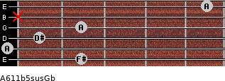 A6\11b5sus\Gb for guitar on frets 2, 0, 1, 2, x, 5