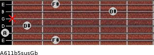 A6\11b5sus\Gb for guitar on frets 2, 0, 1, x, 4, 2