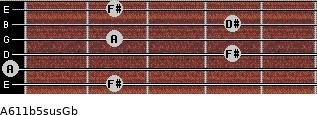 A6\11b5sus\Gb for guitar on frets 2, 0, 4, 2, 4, 2
