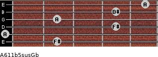 A6\11b5sus\Gb for guitar on frets 2, 0, 4, 2, 4, 5