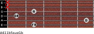 A6/11b5sus/Gb for guitar on frets 2, 5, 1, 2, x, x