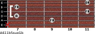 A6\11b5sus\Gb for guitar on frets x, 9, 7, 11, 7, 11