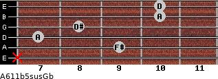 A6/11b5sus/Gb for guitar on frets x, 9, 7, 8, 10, 10
