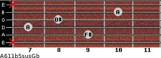 A6\11b5sus\Gb for guitar on frets x, 9, 7, 8, 10, x