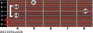 A6\11b5sus\Gb for guitar on frets x, x, 4, 8, 4, 5