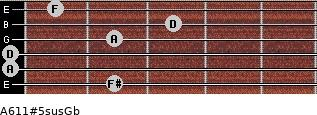 A6/11#5sus/Gb for guitar on frets 2, 0, 0, 2, 3, 1