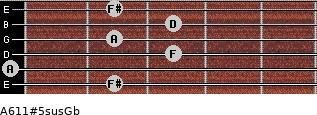 A6/11#5sus/Gb for guitar on frets 2, 0, 3, 2, 3, 2