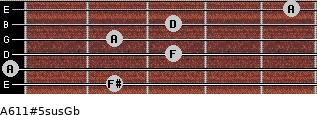 A6/11#5sus/Gb for guitar on frets 2, 0, 3, 2, 3, 5
