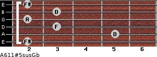 A6/11#5sus/Gb for guitar on frets 2, 5, 3, 2, 3, 2