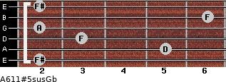 A6/11#5sus/Gb for guitar on frets 2, 5, 3, 2, 6, 2