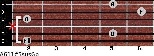 A6/11#5sus/Gb for guitar on frets 2, 5, x, 2, 6, 5