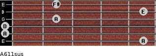 A6/11sus for guitar on frets 5, 0, 0, 2, 5, 2
