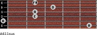 A6/11sus for guitar on frets 5, 0, 2, 2, 3, 2