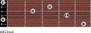 A6/11sus for guitar on frets 5, 0, 4, 2, 3, 0