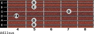 A6/11sus for guitar on frets 5, 5, 4, 7, 5, 5