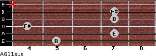 A6/11sus for guitar on frets 5, 7, 4, 7, 7, x