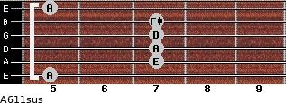 A6/11sus for guitar on frets 5, 7, 7, 7, 7, 5