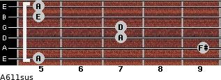 A6/11sus for guitar on frets 5, 9, 7, 7, 5, 5