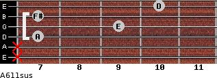 A6/11sus for guitar on frets x, x, 7, 9, 7, 10