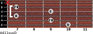 A6/11sus/D for guitar on frets 10, 9, 7, 9, 7, x